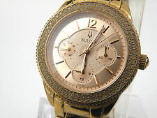 Bulova Ladies Or Rose Ton Robe Montre à Quartz 97N101