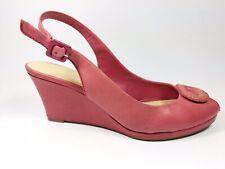 Clarks Red Leather Wedge Heel Slingback Sandals Uk 5.5