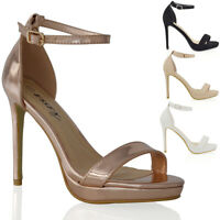 Womens Ankle Strap Stiletto Heel Platform Sandals Ladies Peep Toe Party Shoes