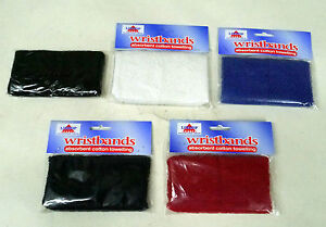 Cotton Wristbands Pack of 2 Elasticated Adults White Red Black Navy Blue Sweat