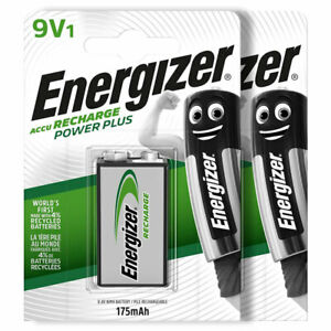 2 x Energizer Rechargeable 9V batteries Recharge Power NiMH 175mAh Block PP3