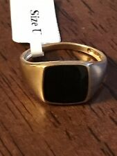 925 Gold Plated Onyx Signet Ring Size U