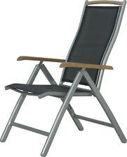 IB-Style® DIPLOMAT Hochlehner Alu Silber/Schw/Teak Klappstuhl Gartenstuhl Stuhl