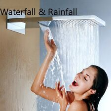 "Large 22"" Square Waterfall Rain Shower Head Wall Mounted Top Shower Sprayer Head"