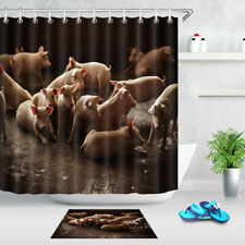 Washable Polyester Fabric Shower Curtain Accessory Mat Cute Baby Pig Group Farm