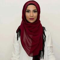 Muslim Islamic Women Long Hijab Scarf Tassel Shawl Wrap Underwear Scarf Headwear