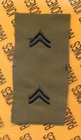US Army Enlisted CORPORAL CPL E-4 OD Green & Black rank patch set
