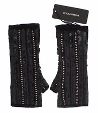 NEW $960 DOLCE & GABBANA Gloves Black Knitted Cashmere Sequined Finger Less s. M