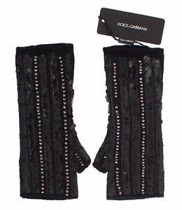 NEW DOLCE & GABBANA Gloves Black Knitted Cashmere Sequined Finger Less s. L