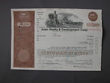 Arlen Realty & Development Corp Stock Certificate azione Aktie acción share acti