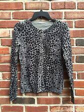 TAHARI Black Gray Leopard Print Crystal Button Cardigan Sweater * XS Small RARE!
