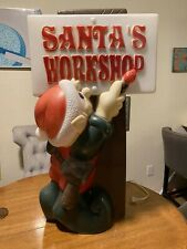 "General Foam Plastic Blow Mold Light Up 34"" Elf Painting Santa's Workshop Sign"