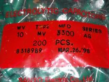 10pcs Sanyo AG 3300uf 10v 105C Radial Electrolytic Capacitor NEW 12.5mmX26mm