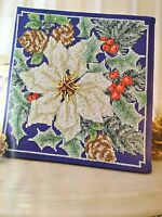 CROSS STITCH PATTERN Christmas Poinsettia and Holly Picture Festive CHART ONLY