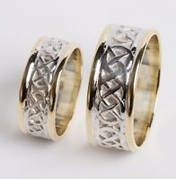 10K Gold Irish Handcrafted Gold Celtic Knot Design Wedding Band Ring Set
