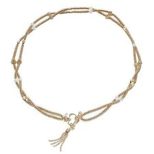 NET JUICY COUTURE  gold tone Double Strand Crown Tassel Toggle Necklace