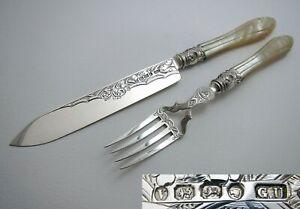 George Unite Victorian Sterling Silver Pearl Fish Servers Serving Knife+Fork
