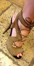 BURAK UYAN BROWN SUEDE AND PATENT LEATHER CAGED SANDAL (STUNNING)
