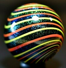 """GEOFFREY BEETEM GLASS MARBLE/1.458""""-LIME/SAPPHIRE DICHROIC-THICK LIME DICHROIC++"""
