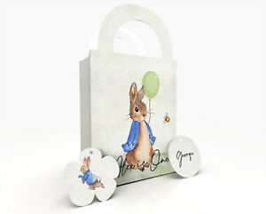 Peter Rabbit Personalised Children Party Bag Gift Favour Box Treat Bag