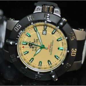 Invicta Men's Rare Subaqua Swiss GMT Yellow Dial Black Polyurethane Watch 13921