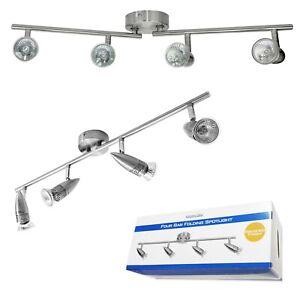 4 Spot Brushed Steel GU10 Bar Ceiling Light Fitting Spotlight Lamp Kitchen 240v