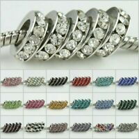 10 pieces Clear Czech Crystal Big Hole Spacer European Charm Beads Fit Bracelet