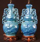 Chinese pair of robin s egg glazed  porcelain vases Late Qing as Lamps