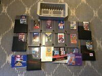 Lot of 16 NES Games Zelda Legendary Wings Donkey Kong Mario 1943 + Game Holder