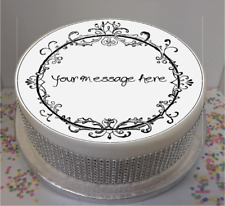 """Personalised Vintage Scroll Frame 7.5"""" Edible Icing Cake Topper birthday retro"""