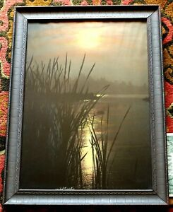 "Tinted Photo by Asahel Curtis (1874-1941)  ""Lake Moonlight"" in Original Frame"