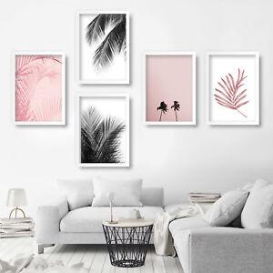 Set of 5 PRINT of Original PINK & BLACK PALM TREE Art photograph decor picture