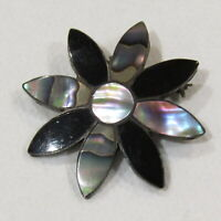 Vintage Mexican Brooch Pendant Abalone Shell Sterling Silver Taxco Stamped