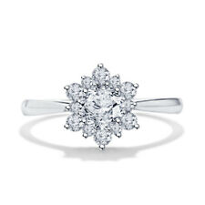 6 Engagement 14K Solid Gold Over 1.06ct Forever Round Anniversary Flower Ring 5