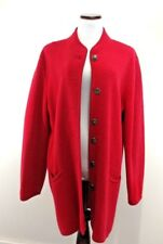 Talbots Trench Coat Women's SMALL Red Button Front Wool Jacket Pockets