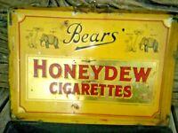Old Vintage Bear's Honeydew Cigarettes Ad. Litho Tin Box tobacciana Collectible