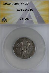1919-D  .25   ANACS   VF 20   Standing Liberty Quarter, Liberty 25 Cents