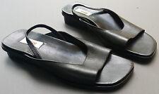 Talbots Sandals SlingBack Low Heel Black Leather Stretch Strap 10