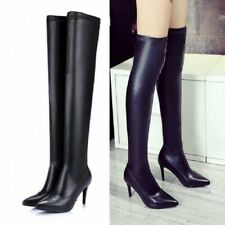Womens Thigh High Boots Over Knee High Heel Black Stretchy Long Boots Size 34-40