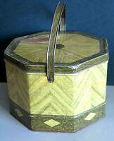 METAL TIN Picnic Basket LOOSE WILES vtg 8 sided Sunshine BISCUIT CO FREE SH