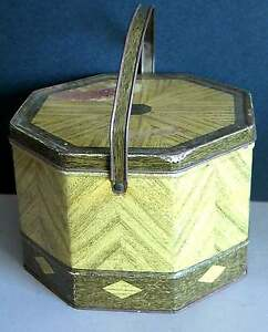 METAL TIN Picnic Basket LOOSE WILES vtg 8 sided Sunshine BISCUIT CO FREE SH