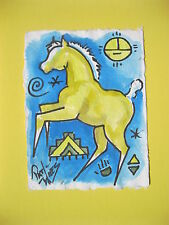 Rock Art Palomino Foal Ponies Pat Wiles Original Watercolor Horse  Horses