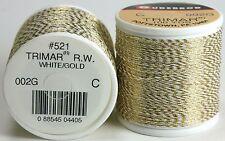 1 Spool Gudebrod TRIMAR Rod Building Fly Tying Thread, Gold & White, Sz C #002G