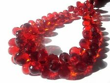 Hessonite Gem Hydro Quartz Faceted Teardrops Briolette Beads 7x10mm 7'' Strand