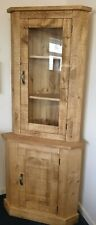 SOLID WOOD RUSTIC CHUNKY CORNER DISPLAY CABINET WITH GLAZED UPPER DOOR
