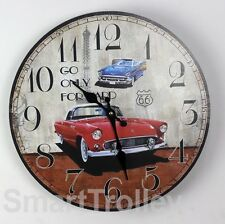 34CM Rustic Vintage ROUTE 66 GO ONLY FORWARD CARS Printed Wooden Wall Clock