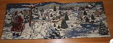 Christmas Santa Claus w/Village & Train Tapestry Table Runner