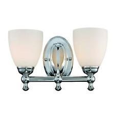 Solomone 2-Light Polished Chrome Vanity Light with Opal Glass Shades