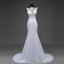 Long Lace Mermaid Wedding Dress Formal Bridal Gown Lace up Back with Sequins