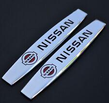 2 Pcs Car Fender Metal Stainless Nissan 10cm X 2cm Decal Badge Sticker